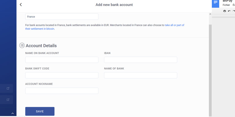 Bitpay add a bank account