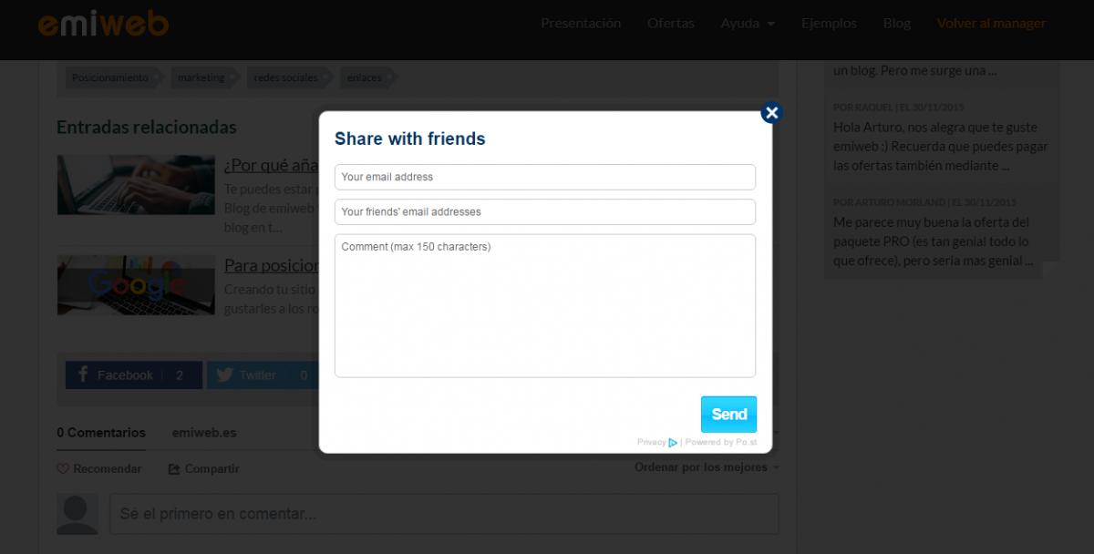 Comparti tu page web via email emiweb