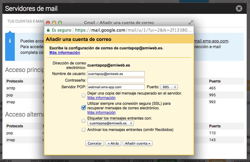 Configuracion email