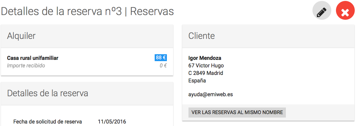 Modificar una reserva