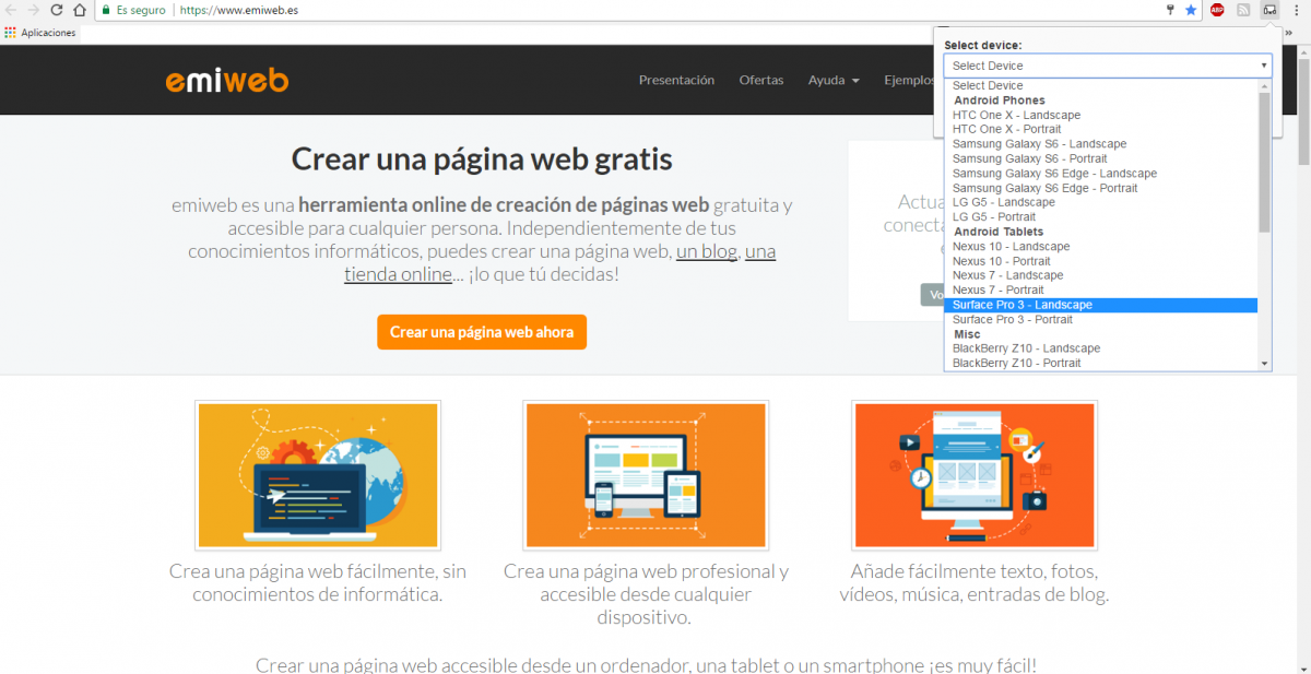 Extension responsive google chrome emiweb