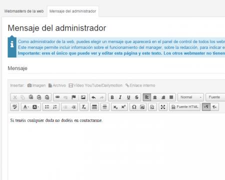 mensaje del administrador