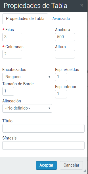 Propiedades tabla responsive
