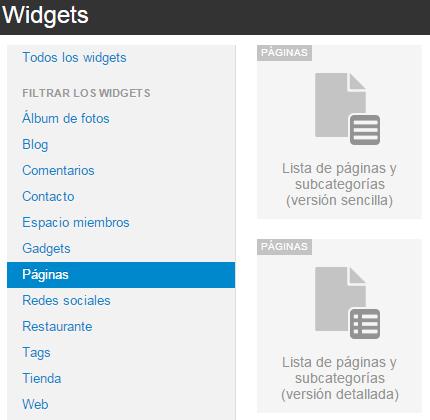 Widgets paginas 1