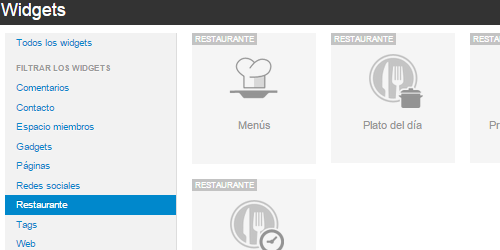 Widgets restaurante menu