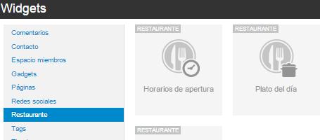 Widgets restaurante